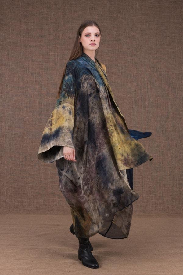 TROPICAL 2 eco-print silk kimono - 1