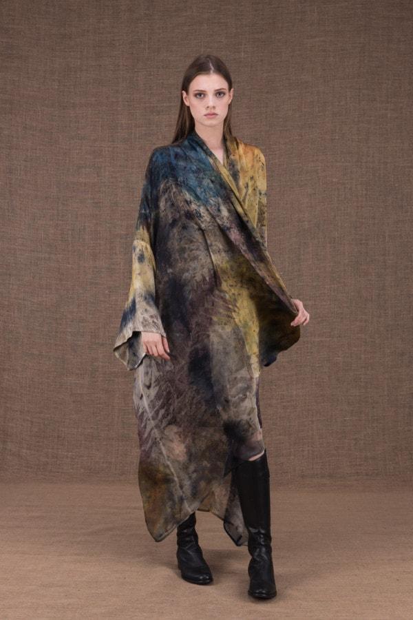 TROPICAL 2 eco-print silk kimono - 2