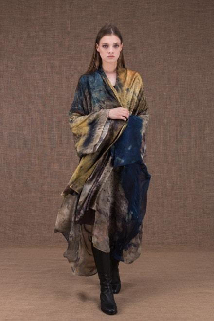 TROPICAL 2 eco-print silk kimono - 3
