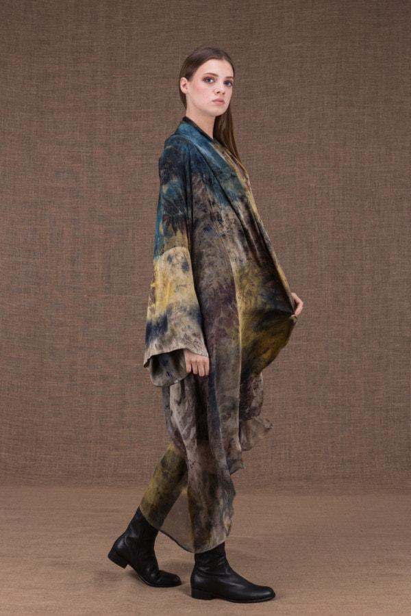 TROPICAL 2 eco-print silk kimono - 4