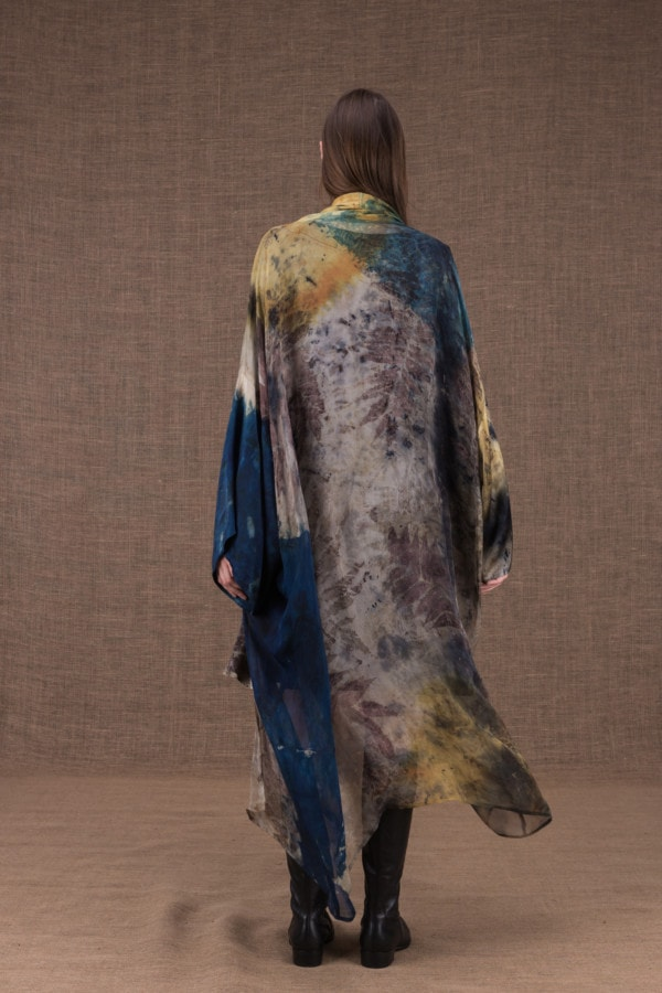 TROPICAL 2 eco-print silk kimono - 5