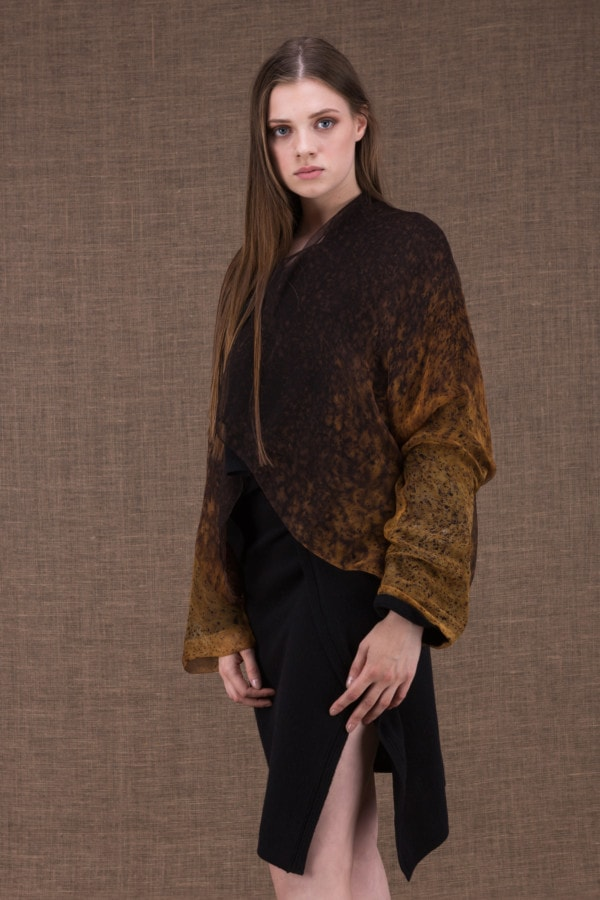 Yulong Black-Gold wool and silk hand-painted jacket - 1