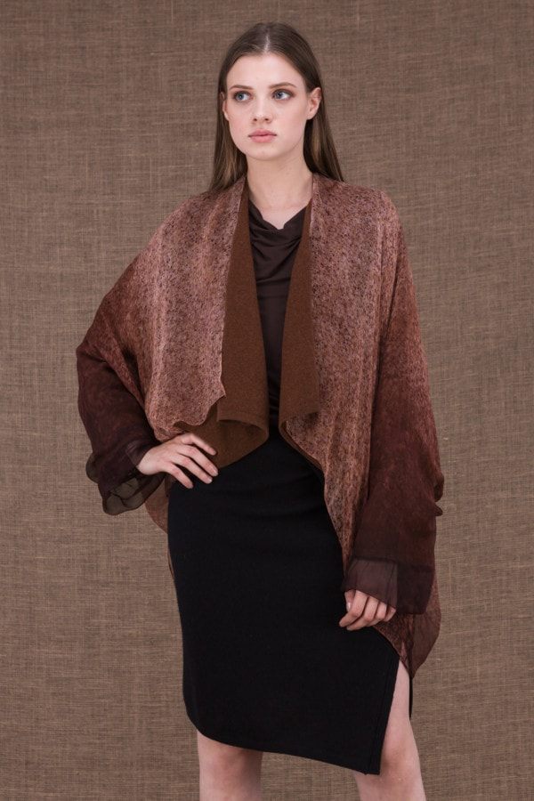 Yulong brown hand-painted wool and silk jacket - 1