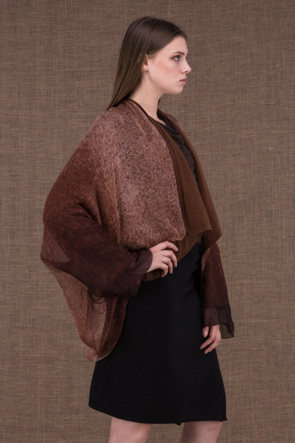 Yulong brown hand-painted wool and silk jacket - 3