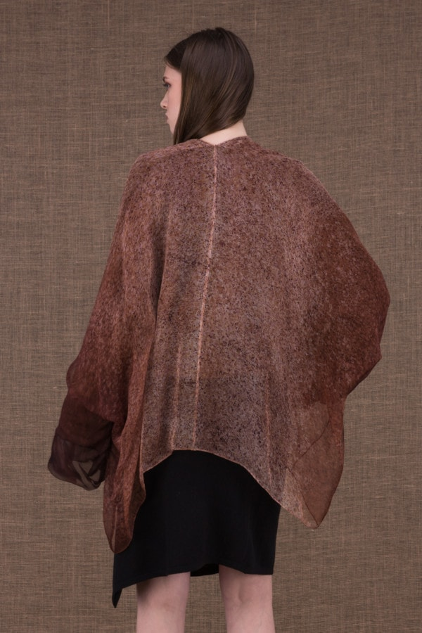 Yulong brown hand-painted wool and silk jacket - 4