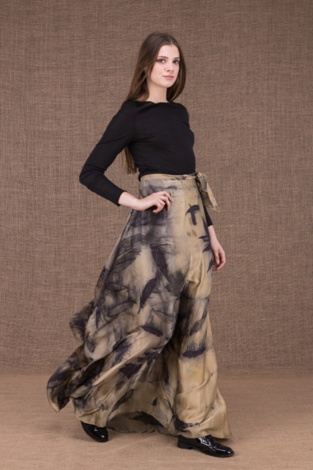 AIA eco print silk satin long skirt - 1