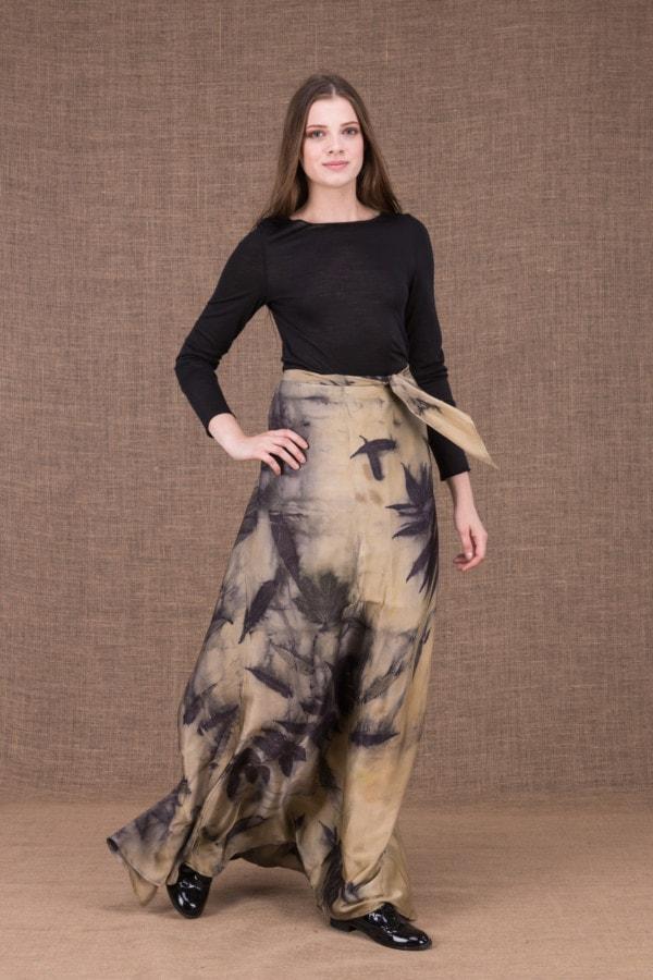 AIA eco print silk satin long skirt - 2