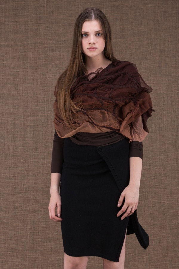 Brume modulable shawl with silk handle and hand-painted boiled wool - 1