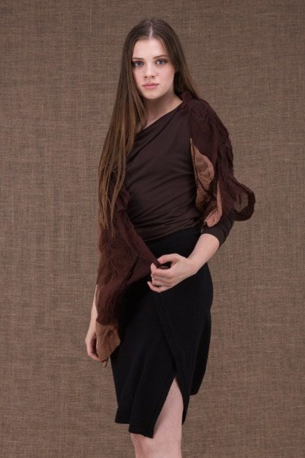 Brume modulable shawl with silk handle and hand-painted boiled wool - 2