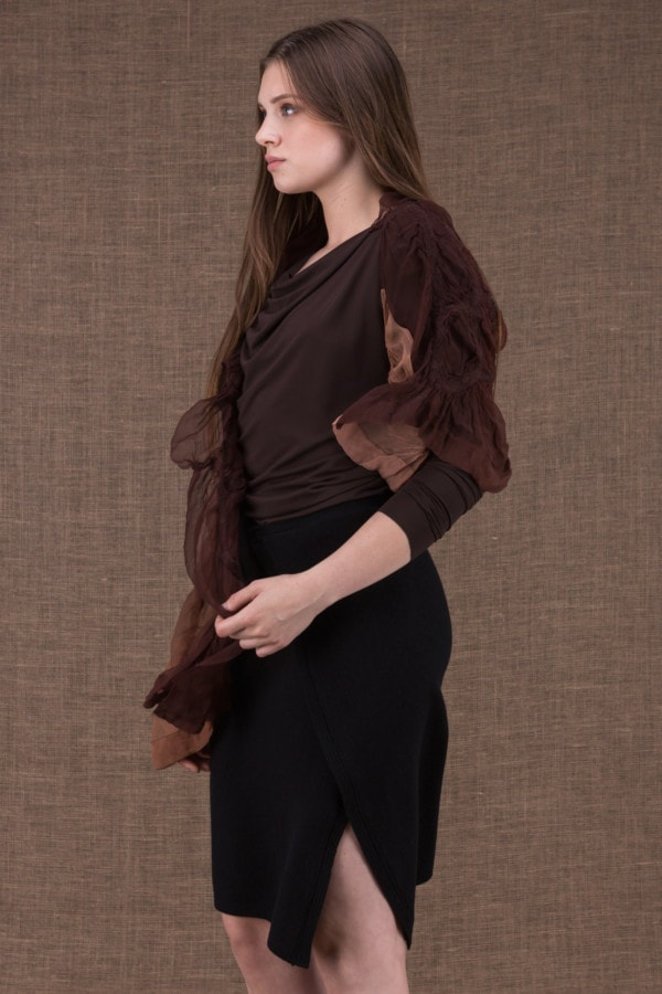 Brume modulable shawl with silk handle and hand-painted boiled wool - 3