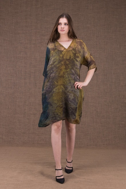 Daisy eco printed silk tunic-dress - 1