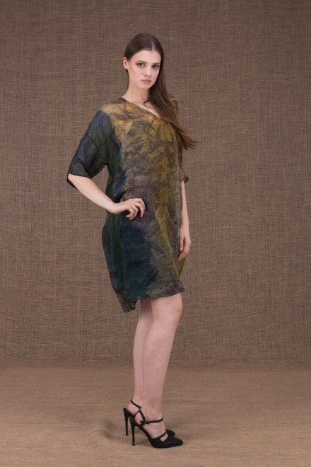 Daisy eco printed silk tunic-dress - 2