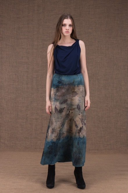 Dany long flared cotton eco-print skirt - 1