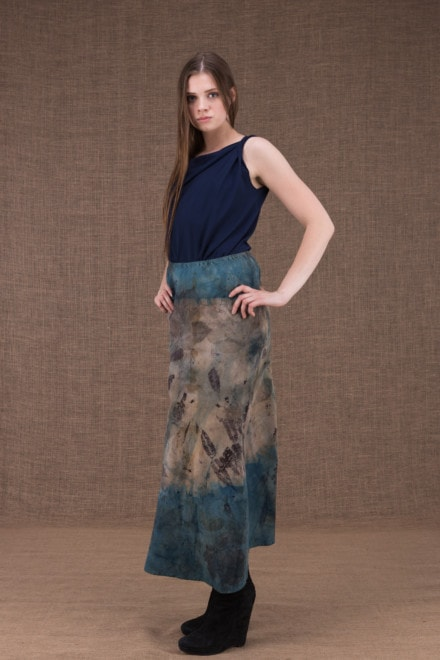 Dany long flared cotton eco print skirt- 2