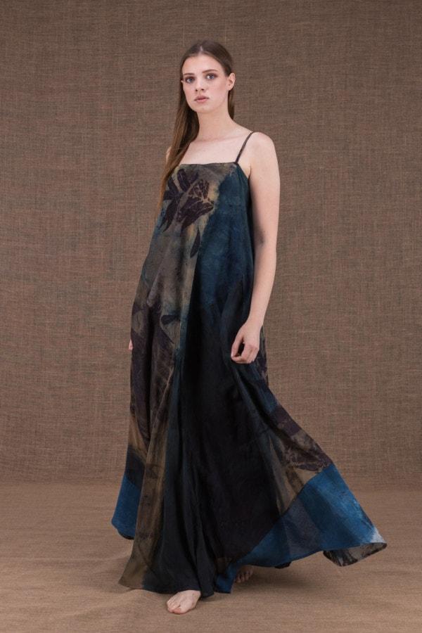 Ida long eco print cotton and silk dress - 1