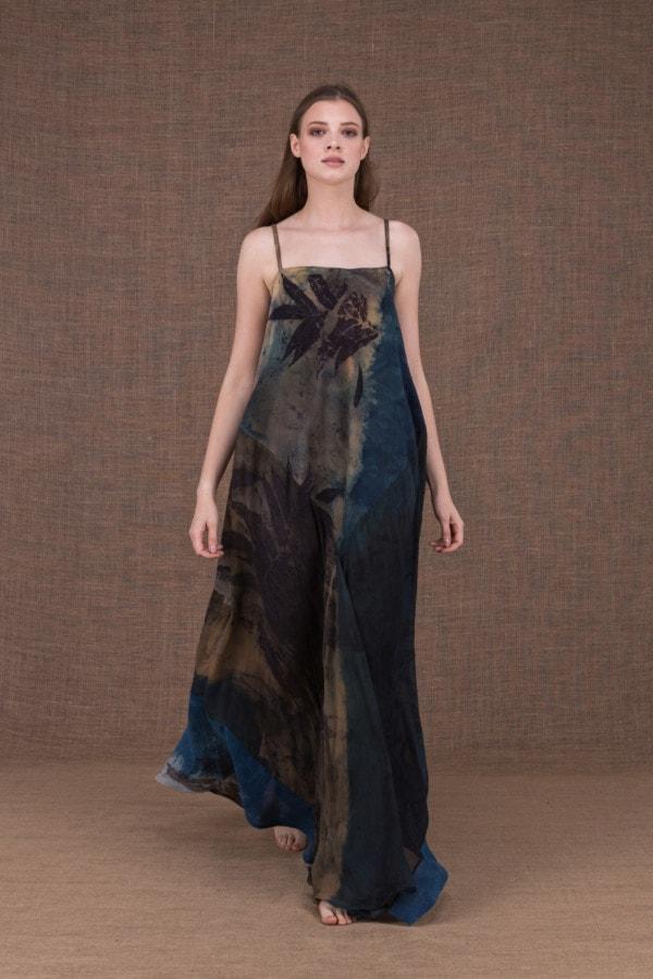 Ida long eco print cotton and silk dress - 2