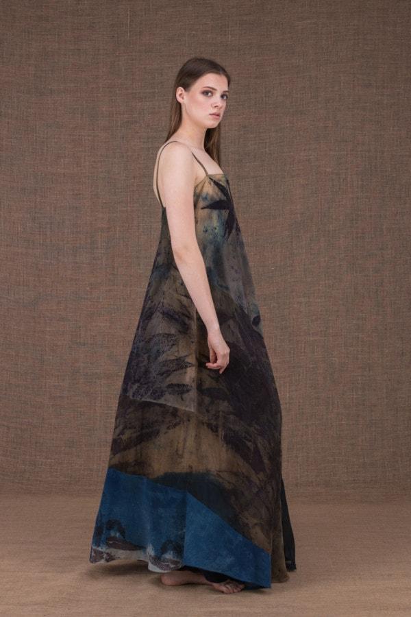 Ida long eco print cotton and silk dress - 3