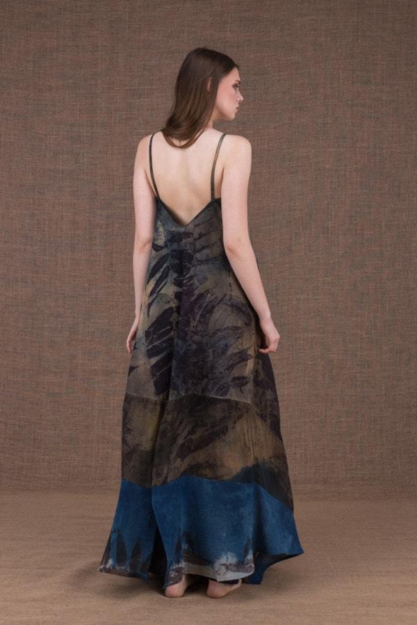 Ida long eco print cotton and silk dress - 4