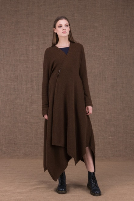 Ilulissat asymmetric long brown wool coat - 1
