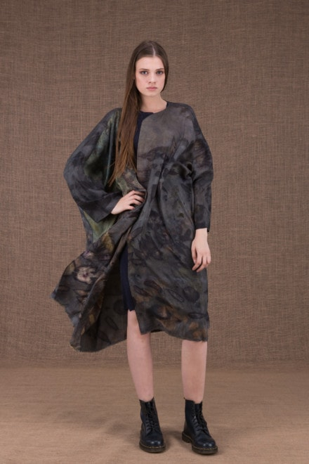 Lea silk eco printed kimono coat - 1