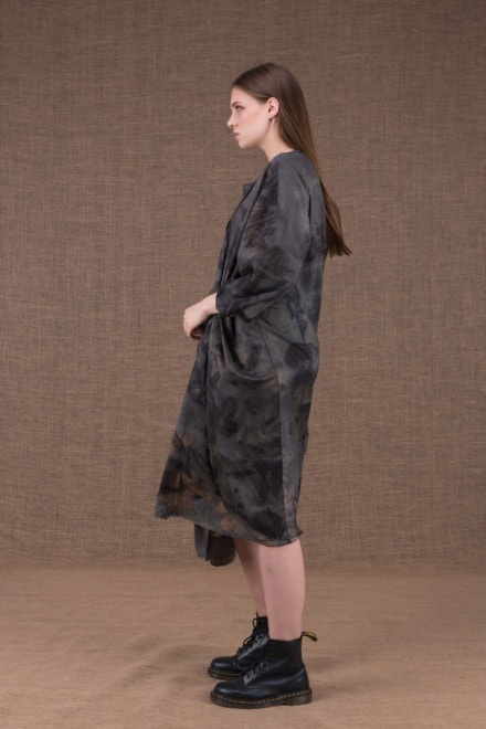 Lea silk eco printed kimono coat - 2