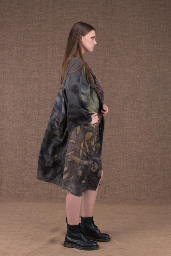 Lea silk eco printed kimono coat - 3