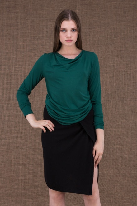 Merion emerald top in viscose knit - 1