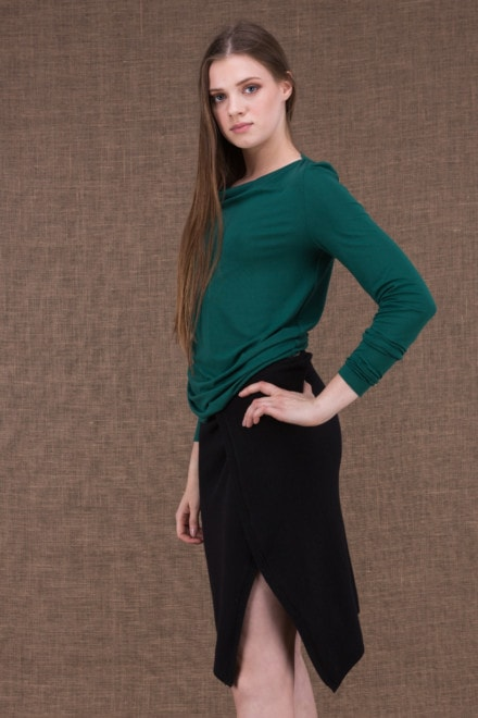 Merion emerald top in viscose knit - 2
