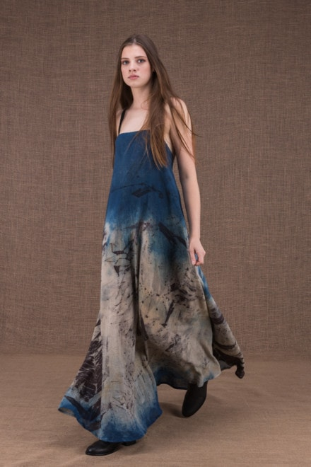 Nora eco print cotton backless long dress - 1