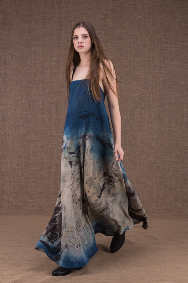 Nora eco print cotton backless long dress - 1