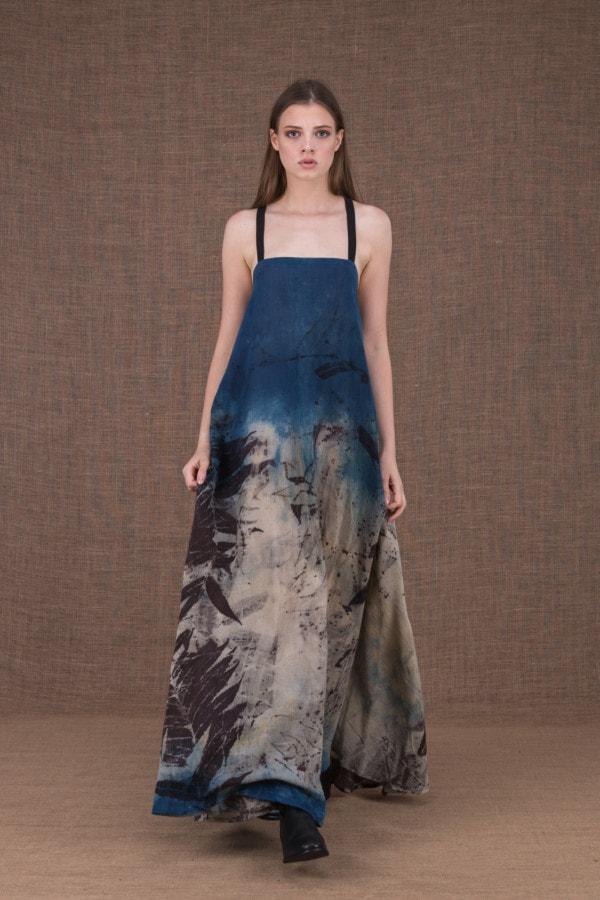 Nora eco print cotton backless long dress - 2