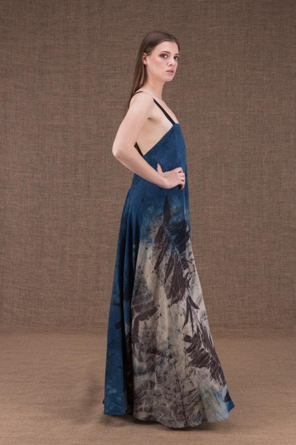 Nora eco print cotton backless long dress - 3