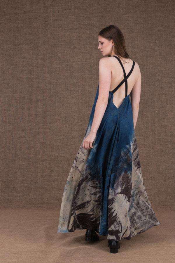 Nora eco print cotton backless long dress - 4