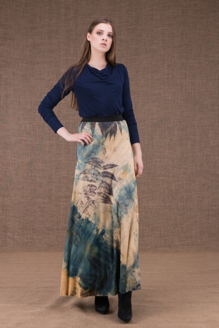 Slow eco print flared long skirt in viscose knit - 1