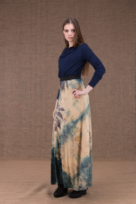 Slow eco print flared long skirt in viscose knit - 2