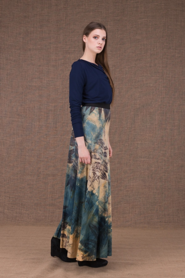 Slow eco print flared long skirt in viscose knit - 3