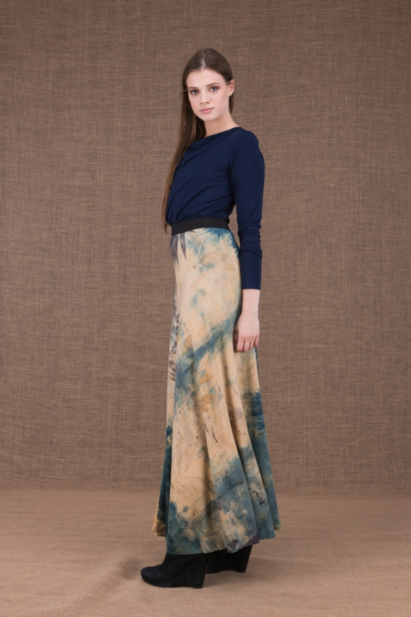 Slow eco print flared long skirt in viscose knit - 4