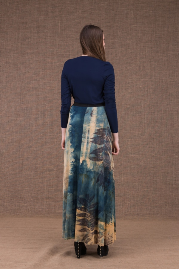 Slow eco print flared long skirt in viscose knit - 5