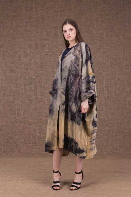 Sumak manteau kimono eco-print en soie - 1