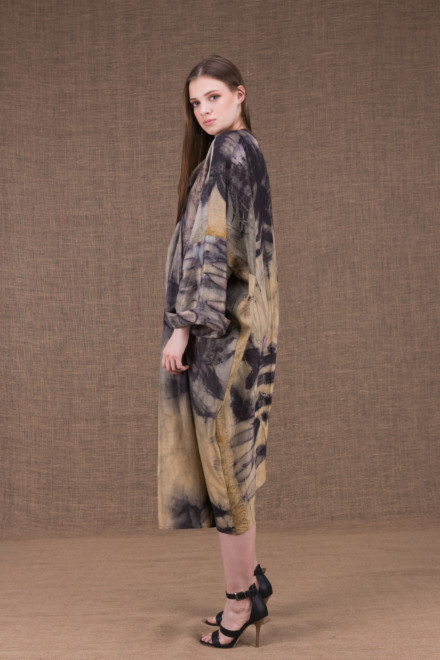 Sumak manteau kimono eco-print en soie - 2