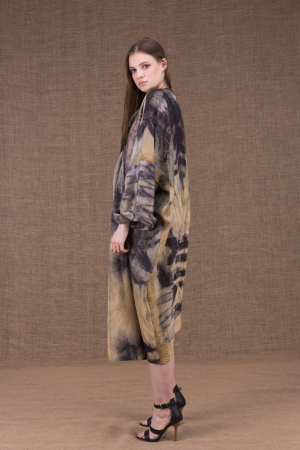 Sumak silk eco printed kimono coat - 2