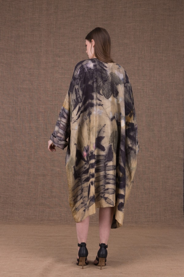 Sumak silk eco printed kimono coat - 3