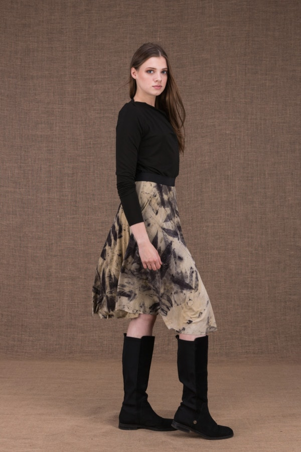 Vika eco print mid-length flared skirt - 1