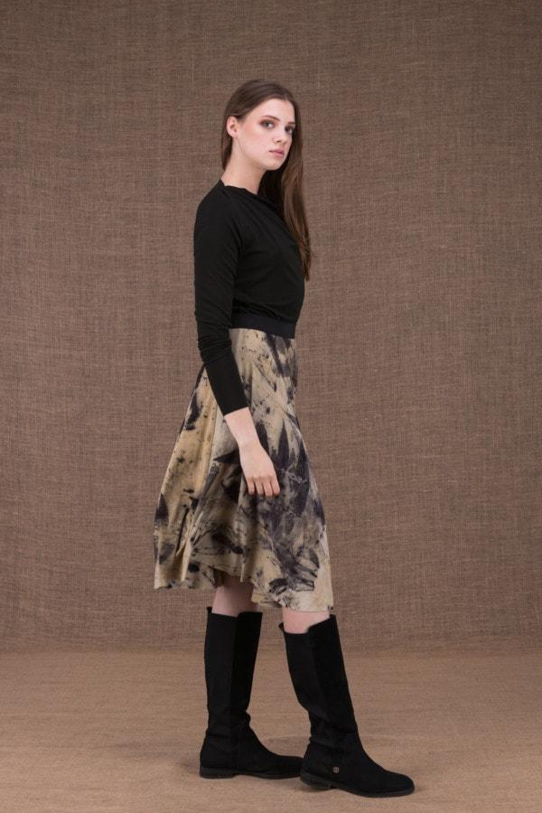 Vika eco print mid-length flared skirt - 3