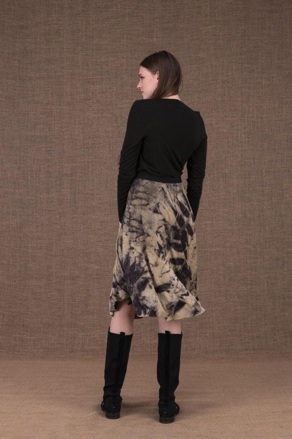 Vika eco print mid-length flared skirt - 4