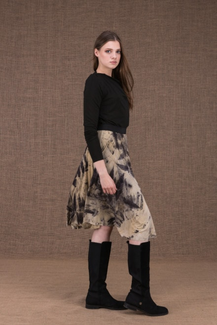 Vika eco print mid-length flared skirt - 1