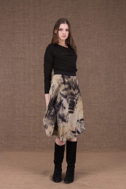 Vika eco print mid-length flared skirt - 2