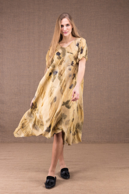 CATALPA flared dress in eco-print silk and cotton 1