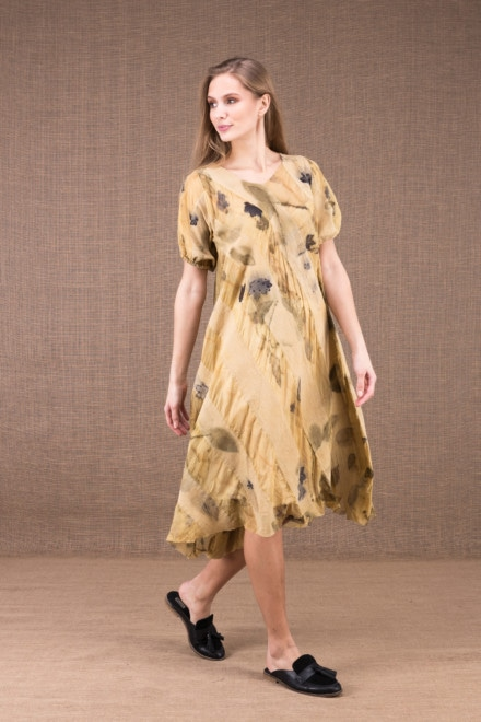 CATALPA flared dress in eco-print silk and cotton 2