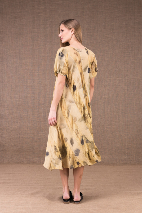 CATALPA flared dress in eco-print silk and cotton 4